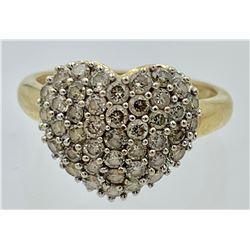 14K DIAMOND HEART CLUSTER RING