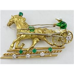 SIGNED CORLETTO ITALY 18K PIN WITH EMERALDS