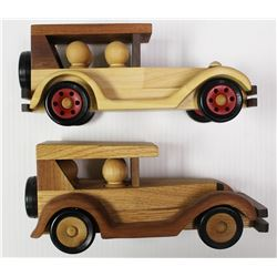 TWO PIECE WOODEN CAR LOT: