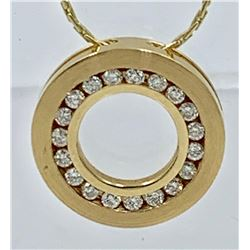 14K YELLOW GOLD DIAMOND PENDANT AND CHAIN