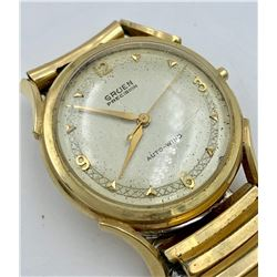 VINTAGE GRUEN14K Y GOLD GENTS WATCH