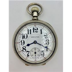 HAMILTON OPEN FACE STERLING SILVER POCKET WATCH