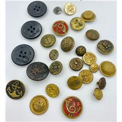 LOT OF 28 VINTAGE AND ANTIQUE MILITARY BUTTONS