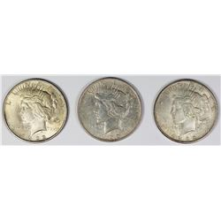 (3)  1922 PEACE SILVER DOLLARS