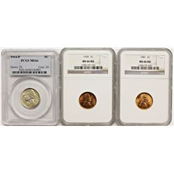 (2) LINCOLN CENTS AND (1) JEFFERSON NICKEL