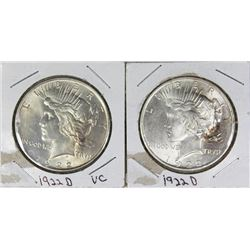 (2) 1922-D PEACE SILVER DOLLARS