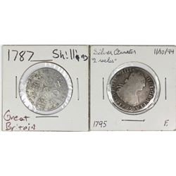1787 SHUILLING AND 1795 SILVER QUARTER (2 REALES)