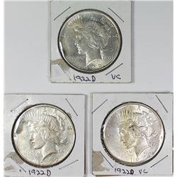 (3) 1922-D PEACE SILVER DOLLAR