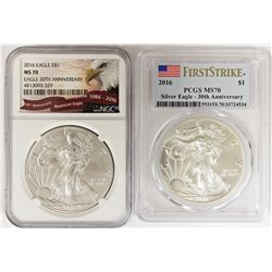 TWO 2016 AMERICAN SILVER EAGLES