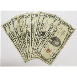 TEN RED SEAL 1963 $5.00 U.S. NOTES