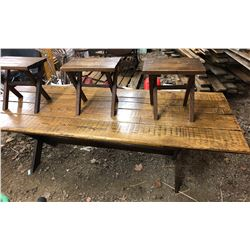 4 PLANK TRESTLE WOOD TABLE WITH 5 STOOLS