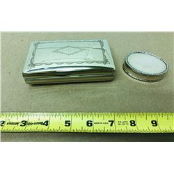 GR OF 2 SILVER TRINKET BOXES - NO MARKINGS