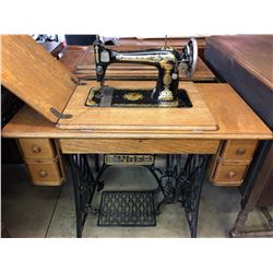 SINGER ANTIQUE TREADLE SEWING MACHINE WITH CABINET