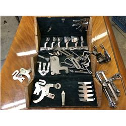 VINTAGE SEWING MACHINE ACCESSORIES KIT IN ORIGINAL WOOD BOX