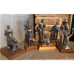 GR OF 7 PEWTER STATUES