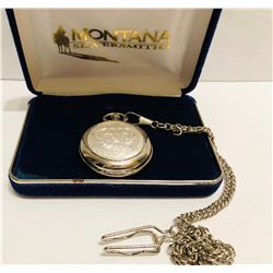 MONTANA SILVERSMITHS POCKET WATCH WITH CASE