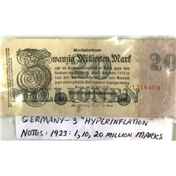GR OF 3, GERMAN HYPERINFLATION 1923 MARKS