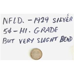 1929 NEWFOUNDLAND SILVER 5 CENTS