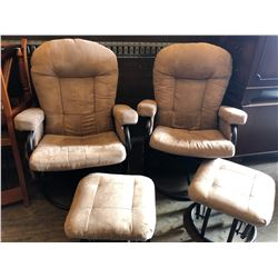 PAIR OF SUEDE ROCKING SWIVEL OCCASIONAL CHAIRS W / FOOT STOOLS