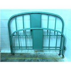 ANTIQUE DOUBLE IRON BED FRAME - PAINTED GREEN