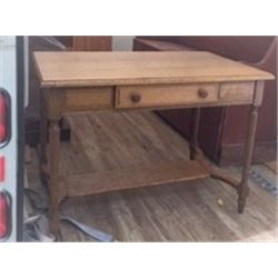 REFINISHED 1920'S QUARTER CUT OAK LIBRARY TABLE
