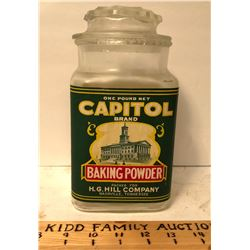 CAPITOL BAKING POWDER GLASS JAR - NASHVILLE