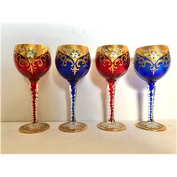 GR OF 4, MURANO ITALIAN CRYSTAL GLASSES