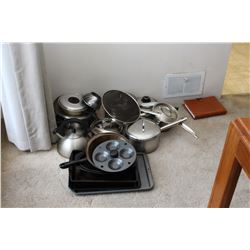 Assortment of Stainless Steel Pots & Pans A