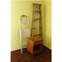 Step Ladders & Wood Bedside Tabe A