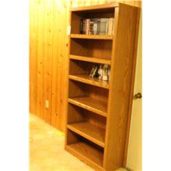 Wood Bookshelf & DVD's A