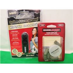PERSONAL ALARM AND PACKAGE OF EARPLUGS (120dB ALARM)