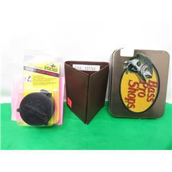 LEATHER WALLET AND CASE AND FLIP TOP SCOPE CAP