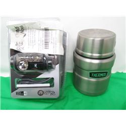 EPIC ELITE HEADLAMP AND SMALL STAINLESS STEEL THERMOS