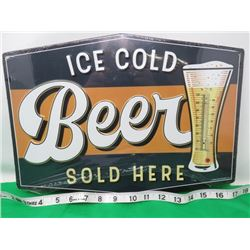 METAL ICE COLD BEER SIGN W/THERMOMETER (THERMOMETER BROKEN)