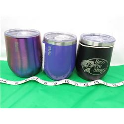 LOT OF 3 METAL INSULATED CUPS AND LIDS (PURE) *SOME DENTS*