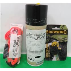 LOT INCLUDING NIGHT-DAWG REFLECTIVE COLLAR, CAN OF WATERPROOFING AND AN LED CAP LIGHT