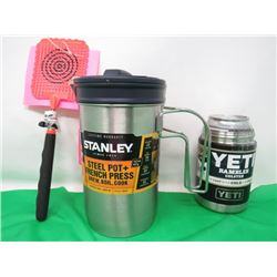 STANLEY STEEL POT/FRENCH PRESS, YETI RAMBLER CAN COOLER, FLY SWATTER