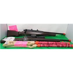 LOT OF 4 TOY RIFLES (2 BOLT ACTION-2 POP GUNS)