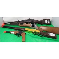 LOT OF 4 WOODEN TOY RIFLES
