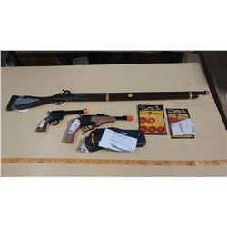 4 TOY GUNS & AMMUNITION -ASSORTED