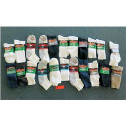 Qty 22 Men's Extra Wide & Medical Socks in White, Black, Tan