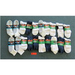 Qty 20 Men's Extra Wide & Medical Socks in White, Black, Gray