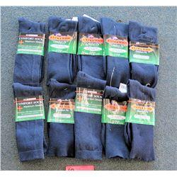 Qty 10 Men's Extra Wide Black Comfort Fit Socks