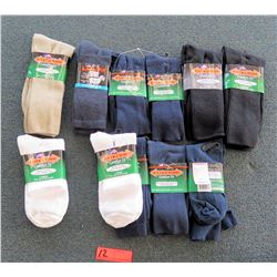 Qty 10 Men's Extra Wide Comfort Fit Socks in Black, White, Tan