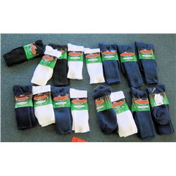 Qty 16 Men's Extra Wide Comfort Fit Socks in Black, White, Blue