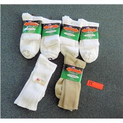 Qty 6 Men's Extra Wide Comfort Fit Socks in White, Tan