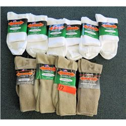 Qty 10 Men's Extra Wide Comfort Fit Socks in White, Tan