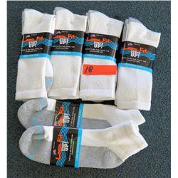 Qty 4 Men's Loose Fit Gray White Socks & 2 Ankle Socks