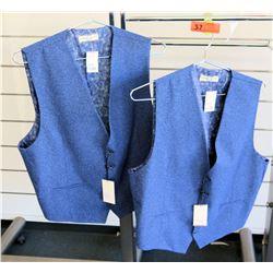 Qty 2 Men's Royal Blue Vests Luchiano Visconti Size 2XL
