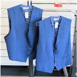 Qty 2 Men's Royal Blue Vests Luchiano Visconti Size 2XL-3XL